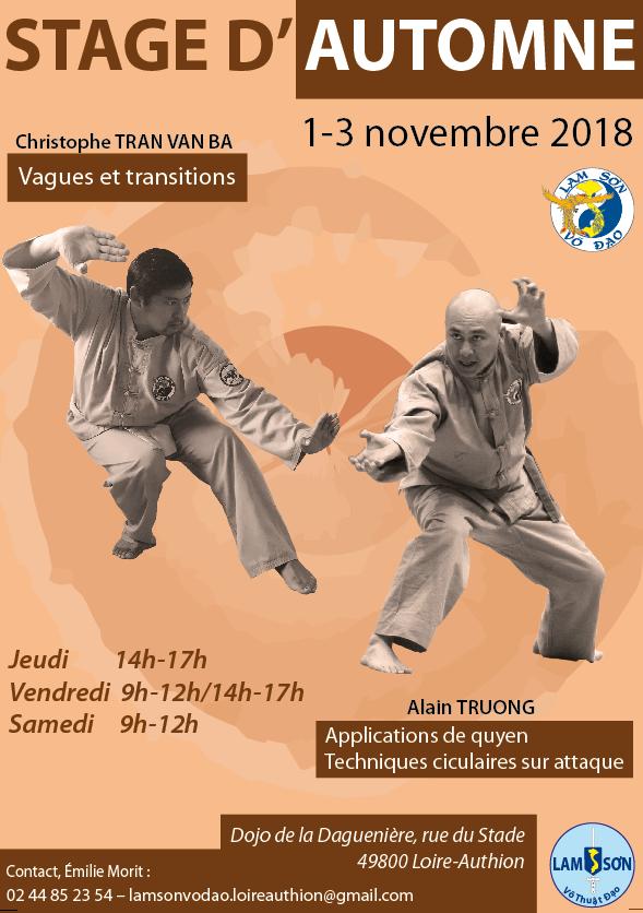 Stage d'automne du 1 au 3 novembre 2018